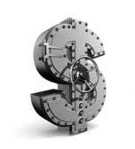 Bank vault in the shape of a dollar sign